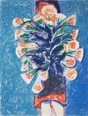 Sale 8510 - Lot 522 - Charles Blackman (1928 - ) - Girl with Trumpet Lillies 77.5 x 59cm