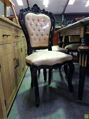 Sale 8611 - Lot 1079 - Set of Five Ebonised and Heavily Carved Timber Dining Chairs