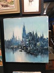 Sale 8753 - Lot 2098 - Enrico Zablan, - Harbour Scene acrylic on canvas, 61.5 x 61cm, signed lower