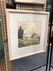 Sale 8811 - Lot 2021 - John Caldwell (1942-) - Walled Barn, watercolour and gouache, 31 x 32cm, signed lower right