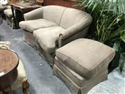 Sale 8854 - Lot 1065 - Fabric Lounge Chair 2 Seater and Wingback with Stool
