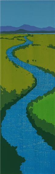 Sale 8980A - Lot 5086 - Una Foster (1912 - 1996) - The River, 1984 34 x 14 cm (mount: 60 x 24 cm)