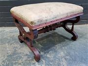 Sale 9014 - Lot 1092 - Victorian Walnut Footstool, with X shaped supports & turned stretcher (upholstery distressed, h:41 x w:60 x d:48cm)