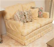 Sale 9071H - Lot 25 - A two seater fabric upholstered yellow sofa together with tapestry cushions, plus a similar two seater and a single armchair for re...