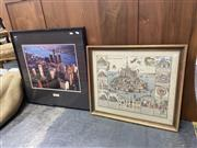 Sale 9069 - Lot 2060 - 2 Works: A decorative print of Medieval illustration of Mont San Michel, together with a photographic print of Detroit. -