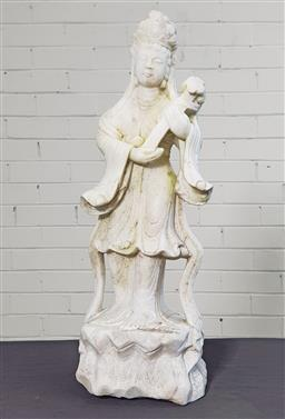 Sale 9179 - Lot 1030 - Carved Marble Figure of Guanyin, holding her ruyi sceptre (h:64cm)