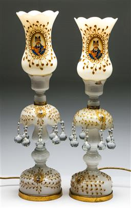 Sale 9175 - Lot 42 - A Pair of Milk Glass Table Lamps with Gilt Highlights and Portraits (H:64cm)