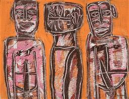 Sale 9244A - Lot 5065 - EDWARD KOUMANS (1946 - ) Totemic Figures oil on board 62.5 x 82 cm (frame: 74 x 94 x 3 cm) signed lower right
