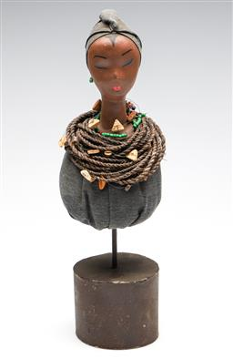 Sale 9253 - Lot 261 - A sculpture on stand of a woman with rope necklace (H:37cm)