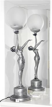 Sale 8098A - Lot 5 - Pair of resin ball lady lamps, height 65cm