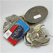 Sale 8236 - Lot 36 - Vintage Pepsi Belt Buckle with Various American Metal Belt Buckles incl. the Texas Star