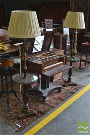 Sale 8335 - Lot 1082 - Pair of Black Chinoiserie Telescopic Standard Lamps, with adjustable brass rods, round tables with brass galleries & triform base