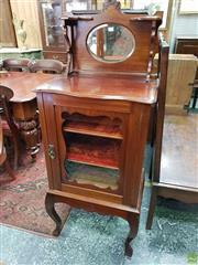 Sale 8598 - Lot 1011 - Early 20th Century Possibly Blackwood Music Cabinet, with mirror back & small shelves, glass panel door enclosing velvet lined shelv...