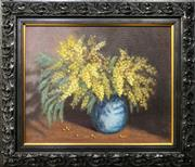 Sale 8659 - Lot 2004 - Artist Unknown  Still Life - Wattle oil on canvas on board, 43 x 50cm (frame), signed lower left