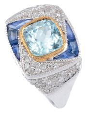 Sale 8937 - Lot 429 - AN AQUAMARINE AND GEMSET DRESS RING; centring a 1.73ct cushion cut aquamarine to surround, shoulders and gallery set with 6 mixed cu...
