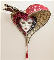 Sale 9020H - Lot 56 - Venetian Mask with gilt paisley flourish and red silk H-approx 42cm