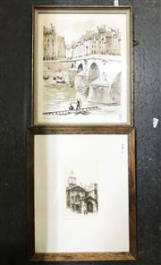 Sale 9033 - Lot 2030 - Vintage colour lithograph of Paris De Pont Marie by Herbelot together with an Early Etching of a London Landmark by Edward Sherry