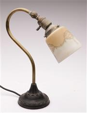 Sale 9044 - Lot 9 - An Art Nouveau Table Lamp With Glass Shade H: 37cm
