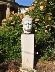 Sale 9087H - Lot 259 - A composition stone Buddha and plinth. 1.65m height
