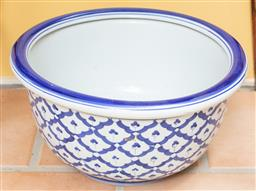 Sale 9120H - Lot 198 - A blue and white ceramic jardiniere, Diameter 41cm