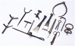 Sale 9130E - Lot 75 - A small quantity of metal tools including hand forged examples