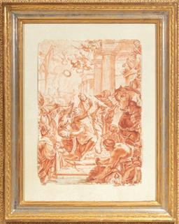 Sale 9130H - Lot 28 - Biblical study, pencil and wash on paper, with Gowrie Gallery label to verso, frame size 74cm x 56cm