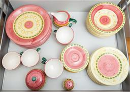Sale 9165H - Lot 177 - A part setting of Living Art hand painted afternoon tea wares including eight dinner plates, eight side plates, eight bowls, seven s...