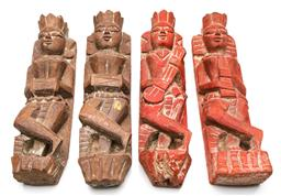 Sale 9253 - Lot 265 - A set of four carved timber wall hangings (H:30cm)