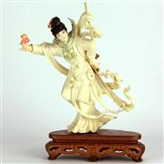 Sale 8221 - Lot 54 - Ivory Carved & Coloured Lady with Sword