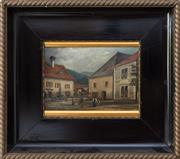 Sale 8270 - Lot 40 - Artist Unknown, European Village scene, oil on board, H 14 x W 20 signed indistinctly lower right
