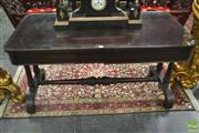 Sale 8255 - Lot 1005 - William IV Mahogany Library Table, with two concealed frieze drawers (one each side), on turned carved supports joined by a stretcher