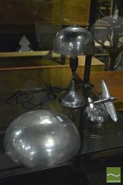 Sale 8350 - Lot 1035 - Chrome Art Deco Table Lamp, Aeroplane Form Ashtray & Wall Pocket