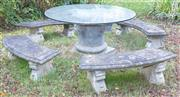 Sale 8550H - Lot 227 - A composite outdoor bench set with four curved benches and a circular glass top, bench W 132cm, glass diameter 151cm