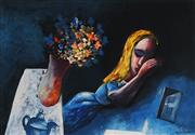 Sale 8764A - Lot 5048 - Charles Blackman (1928 - ) - Dreaming Alice 28.5 x 42cm (image), 52 x 64cm (frame)