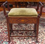 Sale 8649A - Lot 4 - An inlaid piano stool with green velvet upholstered seat on tapering stretchered legs