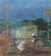 Sale 8695A - Lot 5029 - Lawrence Daws (1927 - ) - Edith by the Pool 42 x 35cm