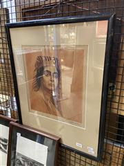Sale 8927 - Lot 2068 - Artist Unknown (early C20th) - Egyptian Woman etching and aquatint, 54.5 x 40.5cm (frame), signed -