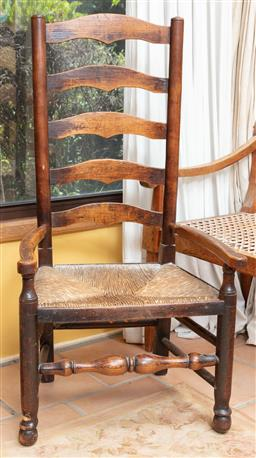 Sale 9120H - Lot 199 - An oak Lancashire ladder back chair with woven seat, Height of back 103cm