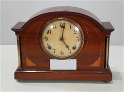 Sale 9218 - Lot 1065 - Early 20th Century American Gilbert Inlaid Mahogany Mantle Clock, of arched form with brass corner columns  untested -  with key and...