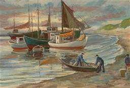 Sale 9256A - Lot 5112 - EMIL JANUS WEINREICH (1896 - 1975) Loading for the Fishing Fleet oil on canvas 45.5 x 67.5 cm (frame: 60 x 83 x 5 cm) signed lower r...