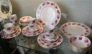 Sale 7950 - Lot 37 - Queen Anne Princess Roses Dinner Set (2 saucers a.f)
