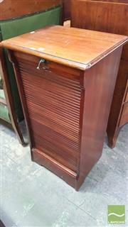 Sale 8375 - Lot 1070 - Early C20th Mahogany Tambour Fronted Cabinet (Key in Office)