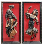 Sale 8740 - Lot 1060 - Framed Matador & Lady Dancer (2)