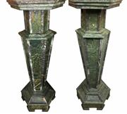 Sale 8995H - Lot 8 - A pair of green marble pedestal plinths with hexagonal tops, height 127cm