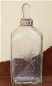Sale 9055H - Lot 89 - An interesting bottle flask with pebble form stopper and plated collar engraved with a fish and stars. H:25cm