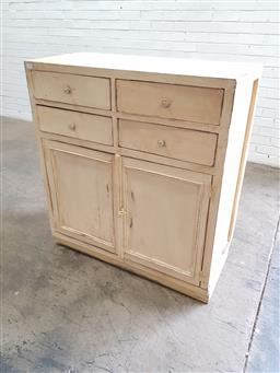 Sale 9151 - Lot 1218 - Cabinet with two doors and four drawers - 115 (h:108 x w:101 x d:44cm)