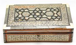 Sale 9246 - Lot 48 - A mother of pearl inlaid timber lined box (W:25cm)