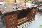 Sale 8331 - Lot 1333 - Double Pedestal Desk With Leather Insert Top And A Spare Oak Top