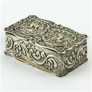 Sale 8372 - Lot 39 - English Hallmarked Sterling Silver Cherub Snuff Box