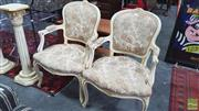 Sale 8404 - Lot 1074 - Pair Of French Louis Style Armchairs in Floral Upholstery